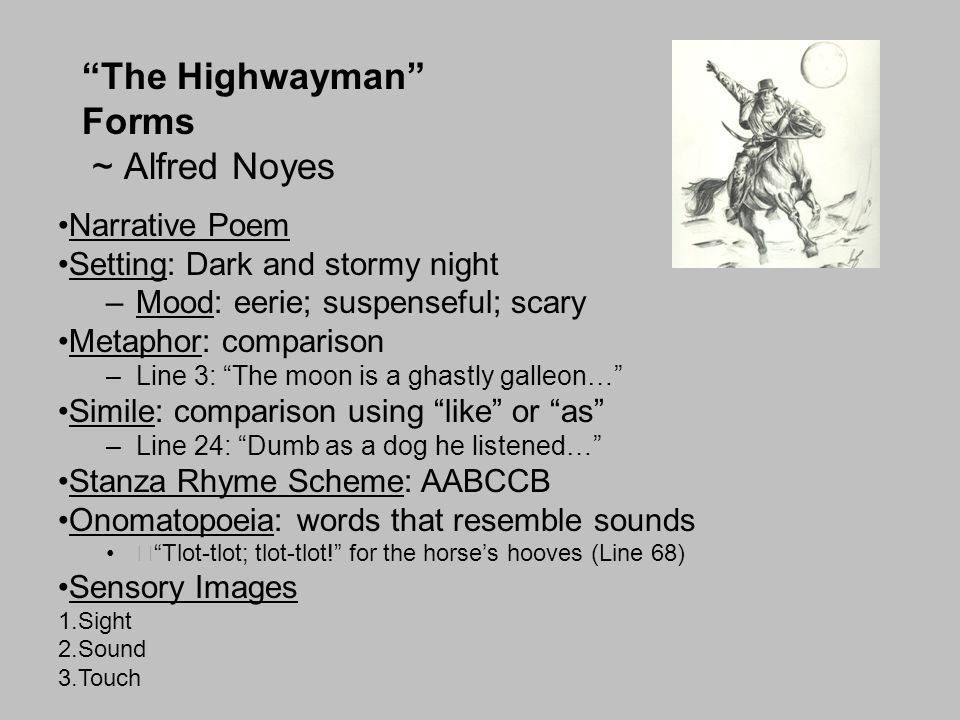 The Highwayman Forms ~ Alfred Noyes