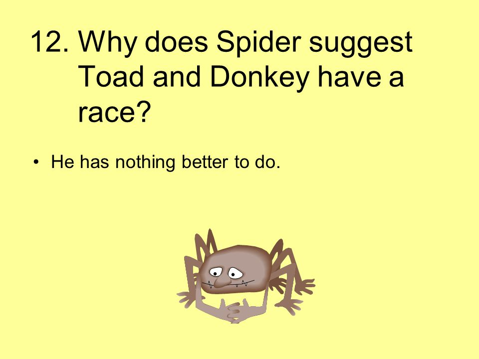 12. Why does Spider suggest Toad and Donkey have a race