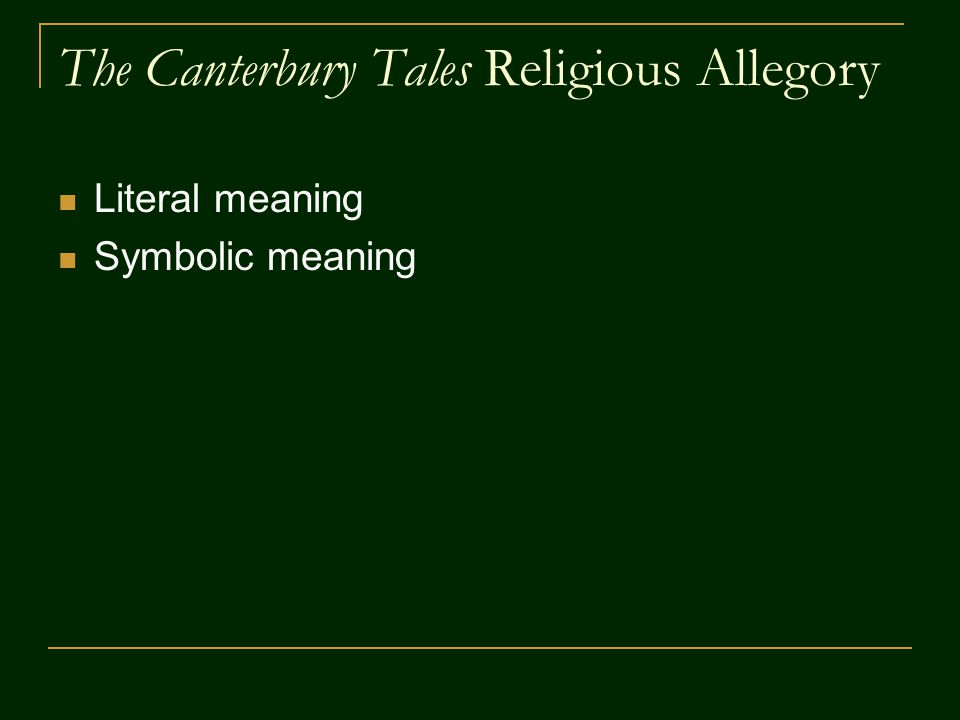 The Canterbury Tales Religious Allegory