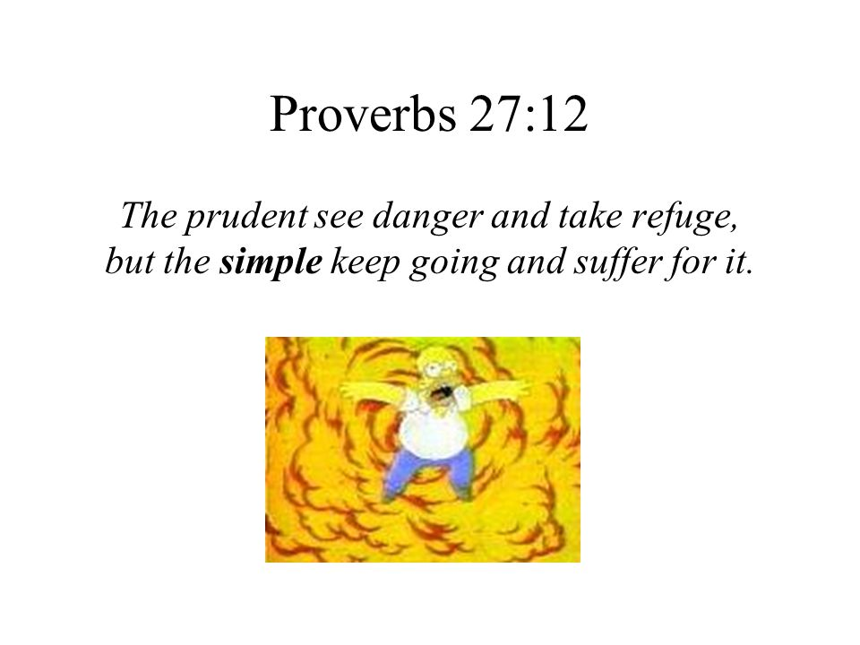 Proverbs 27:12 The prudent see danger and take refuge,