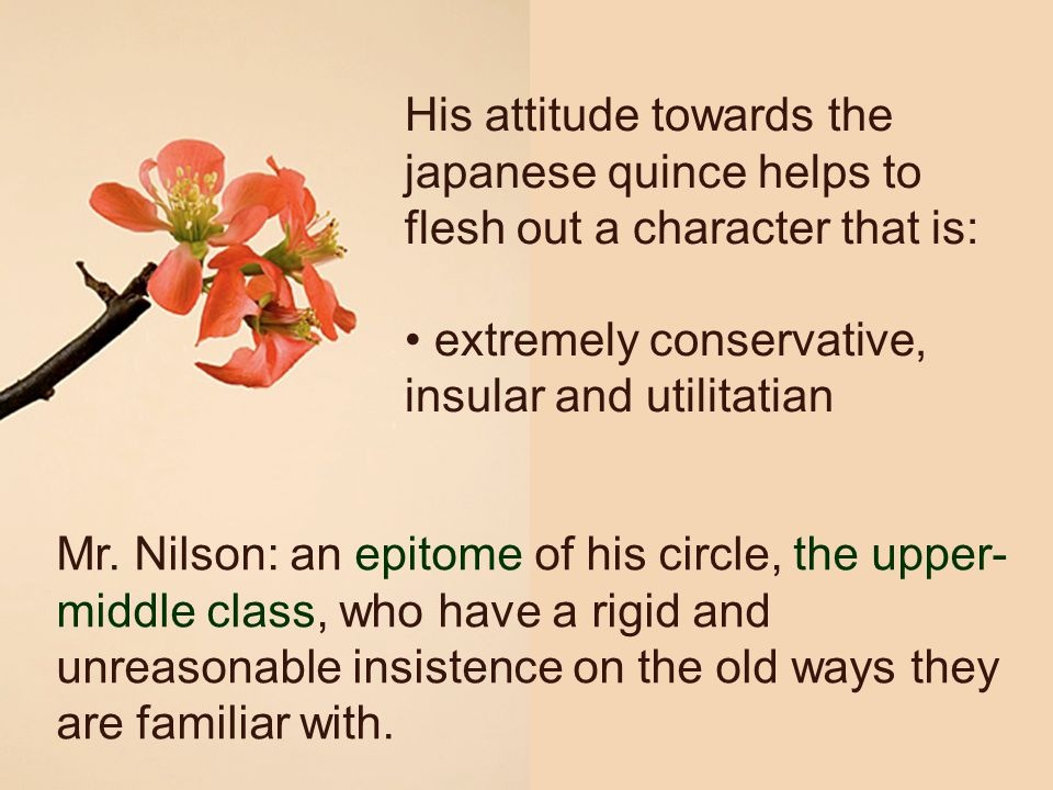 His attitude towards the japanese quince helps to flesh out a character that is: