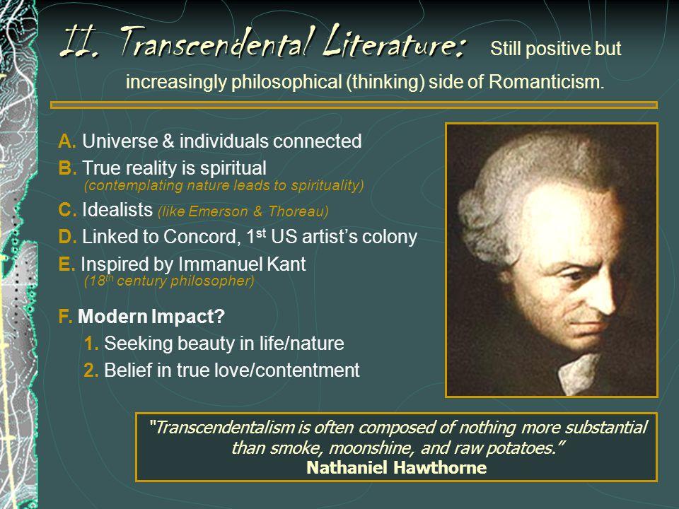 II. Transcendental Literature: Still positive but