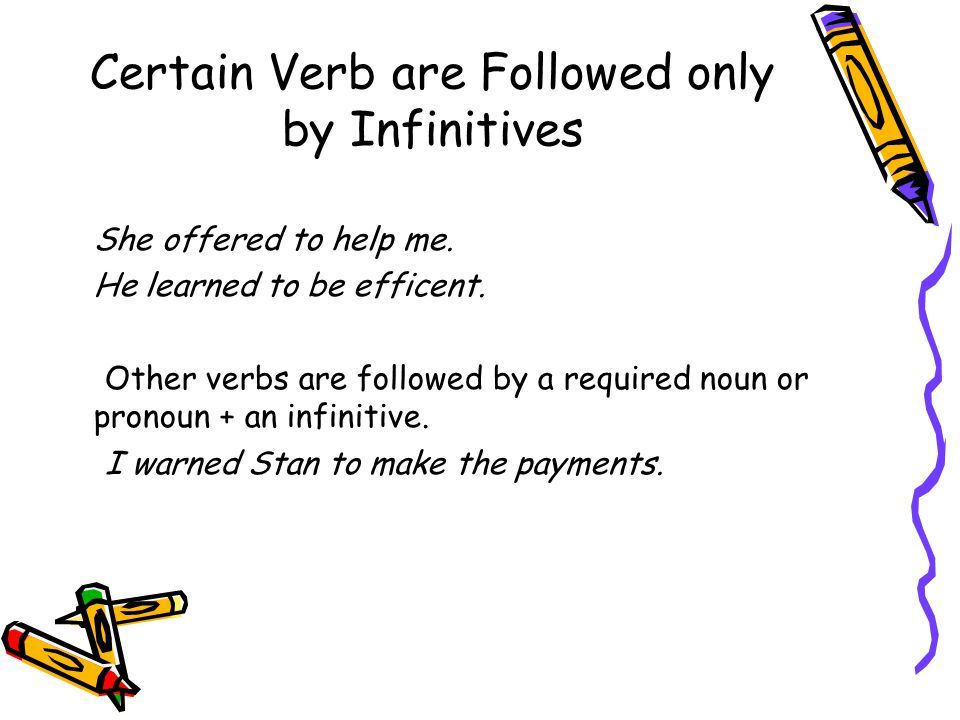 Certain Verb are Followed only by Infinitives