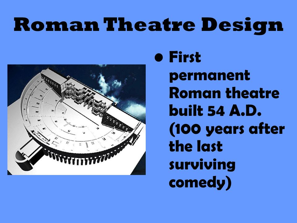 Roman Theatre Design First permanent Roman theatre built 54 A.D.