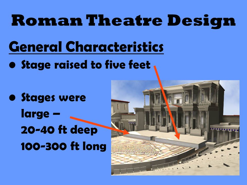 Roman Theatre Design General Characteristics Stage raised to five feet