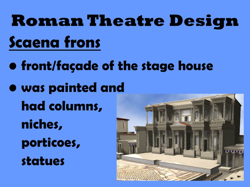 Roman Theatre Design Scaena frons front/façade of the stage house