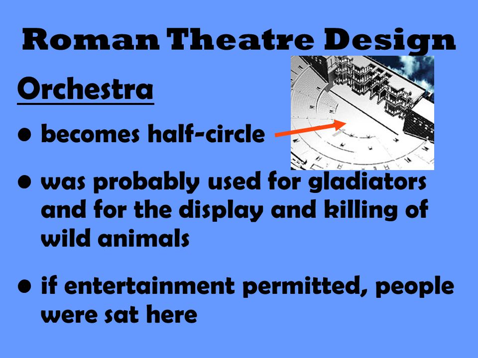 Roman Theatre Design Orchestra becomes half-circle