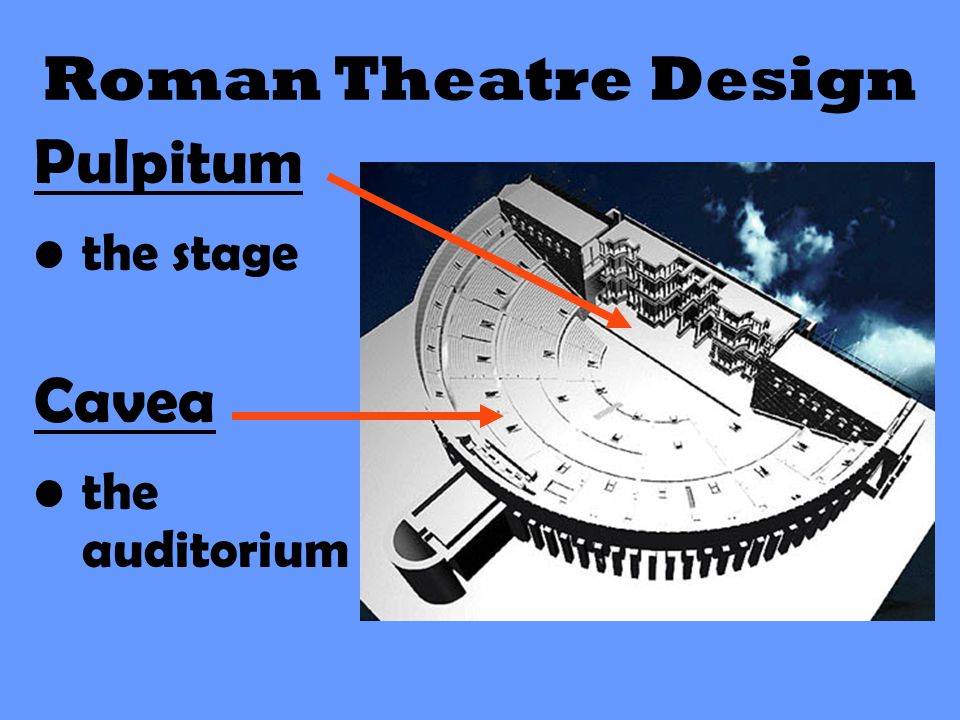 Roman Theatre Design Pulpitum the stage Cavea the auditorium