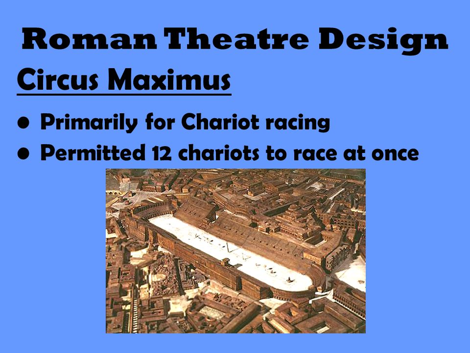 Roman Theatre Design Circus Maximus Primarily for Chariot racing