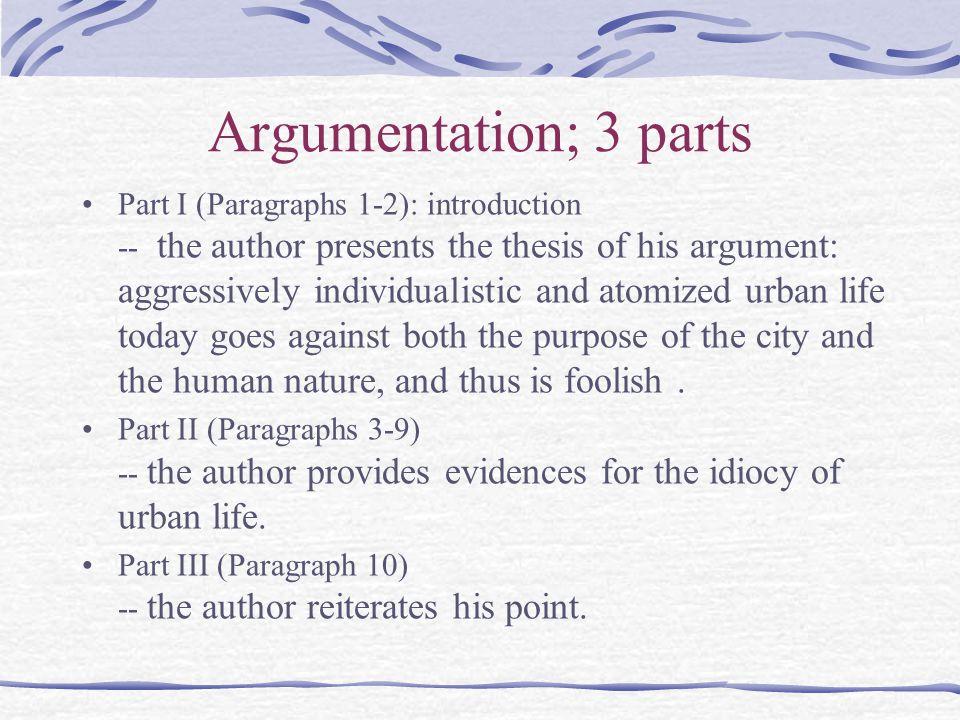 Argumentation; 3 parts