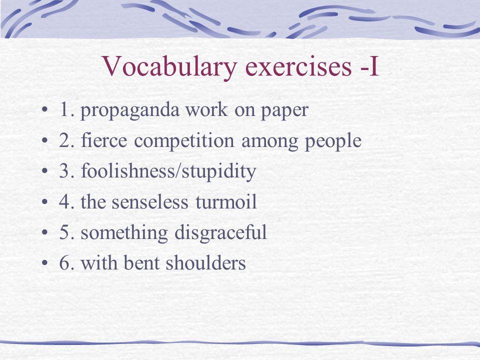 Vocabulary exercises -I