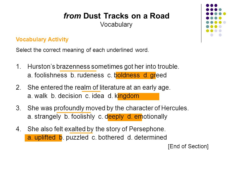 from Dust Tracks on a Road Vocabulary