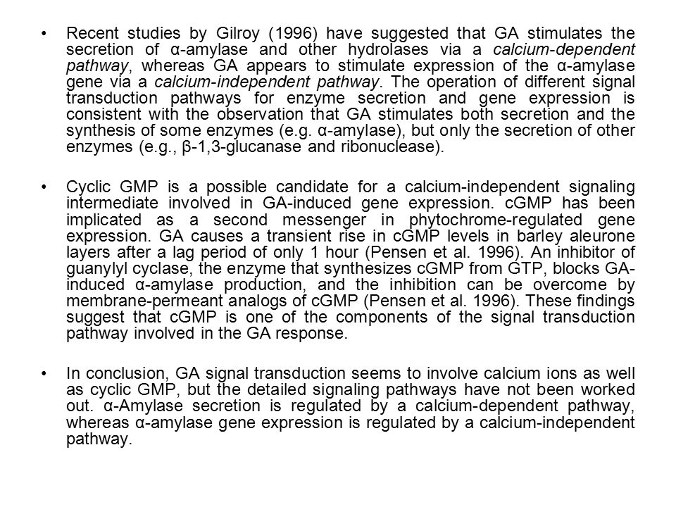 Recent studies by Gilroy (1996) have suggested that GA stimulates the secretion of α-amylase and other hydrolases via a calcium-dependent pathway, whereas GA appears to stimulate expression of the α-amylase gene via a calcium-independent pathway. The operation of different signal transduction pathways for enzyme secretion and gene expression is consistent with the observation that GA stimulates both secretion and the synthesis of some enzymes (e.g. α-amylase), but only the secretion of other enzymes (e.g., β-1,3-glucanase and ribonuclease).