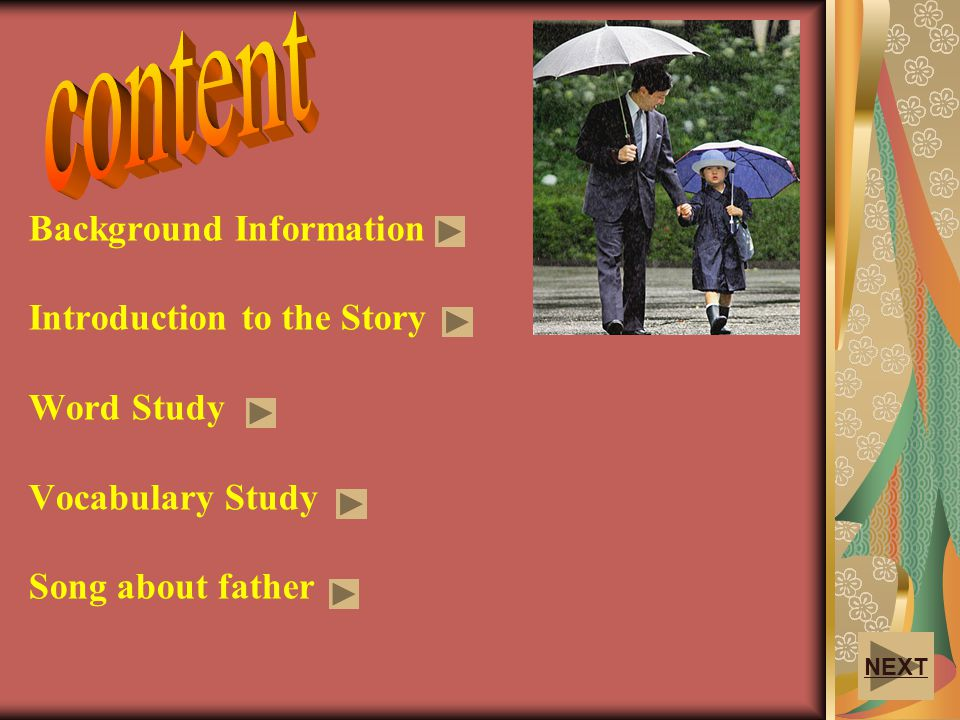 content Background Information Introduction to the Story Word Study