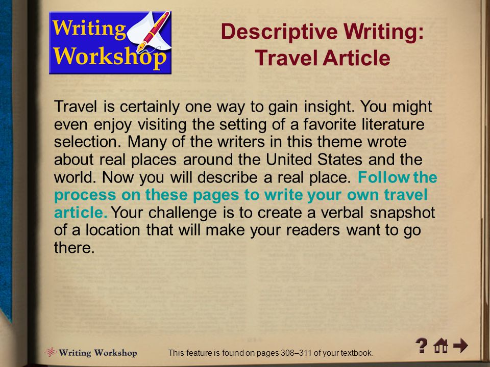 Descriptive Writing: Travel Article