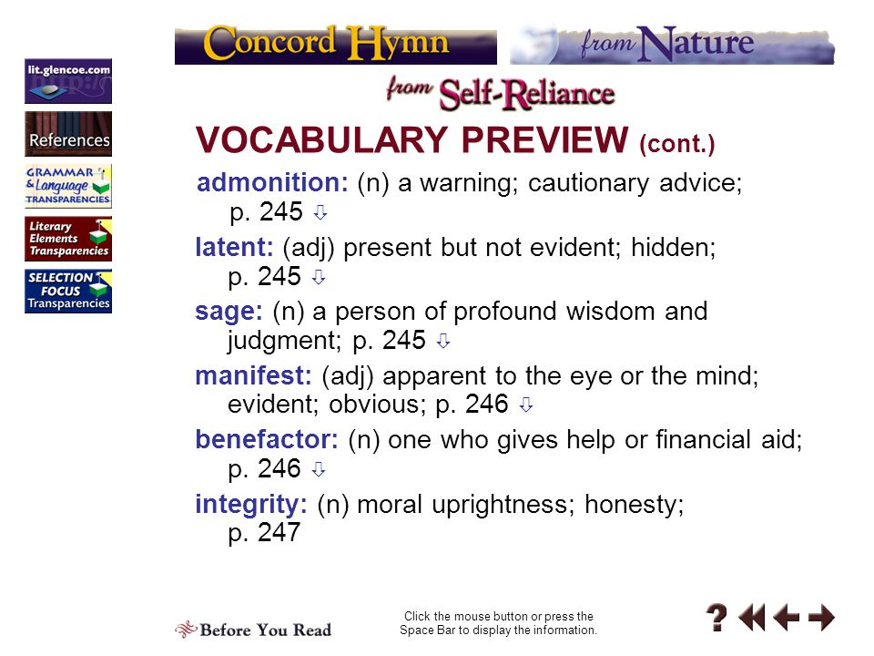 VOCABULARY PREVIEW (cont.)