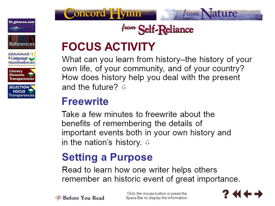 FOCUS ACTIVITY Freewrite Setting a Purpose