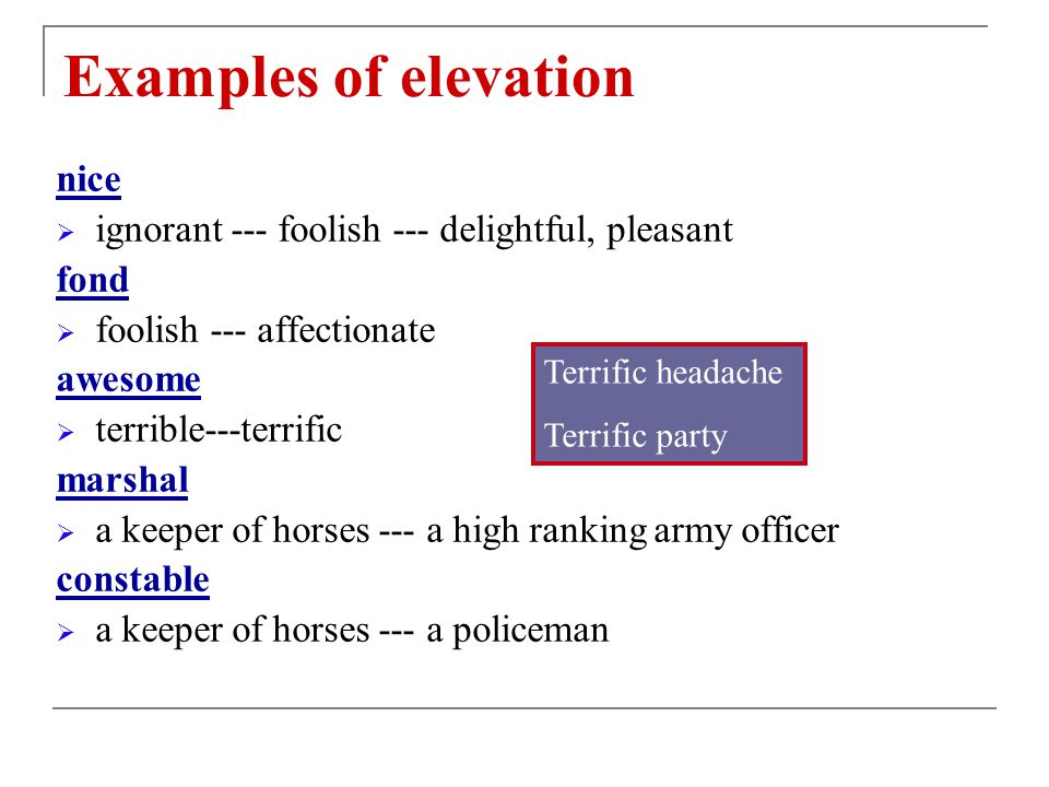 Examples of elevation nice