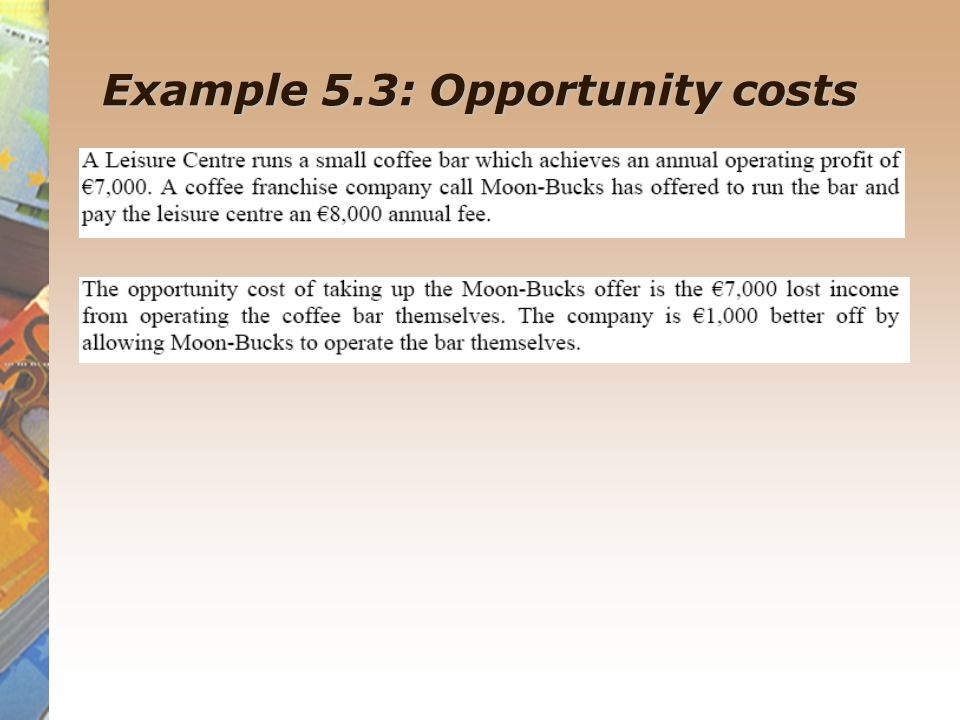 Example 5.3: Opportunity costs