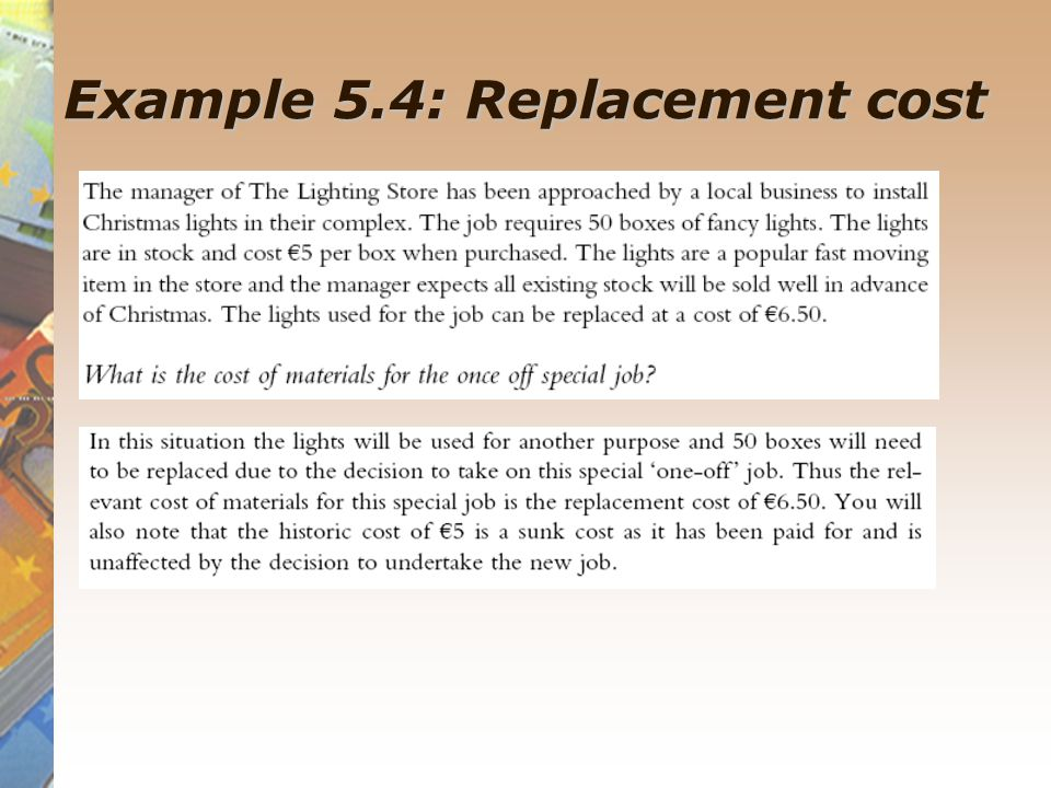 Example 5.4: Replacement cost