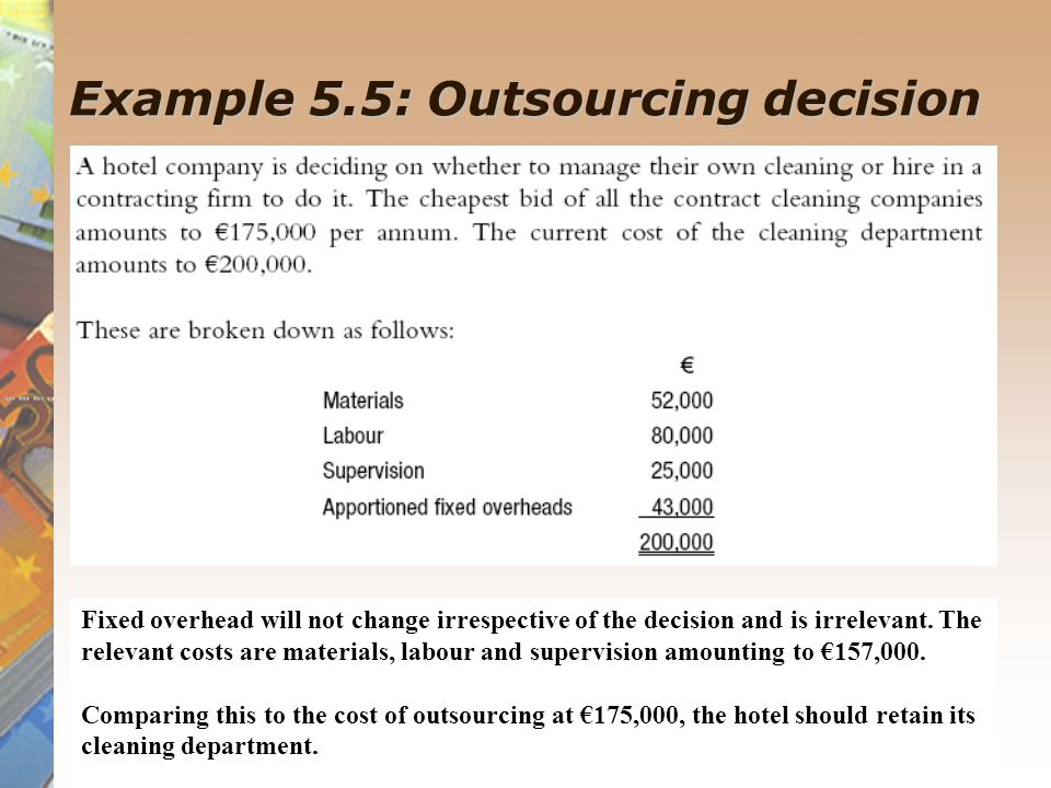 Example 5.5: Outsourcing decision