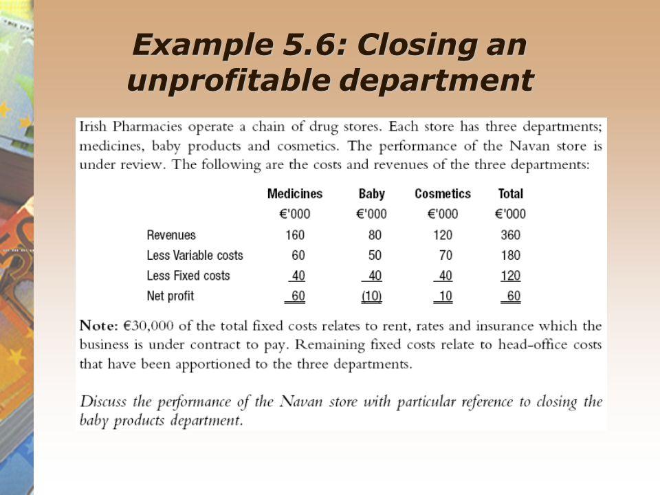 Example 5.6: Closing an unprofitable department