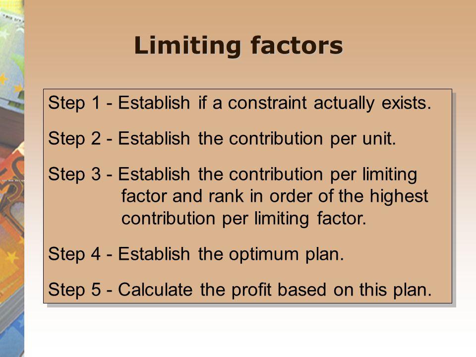 Limiting factors Step 1 - Establish if a constraint actually exists.