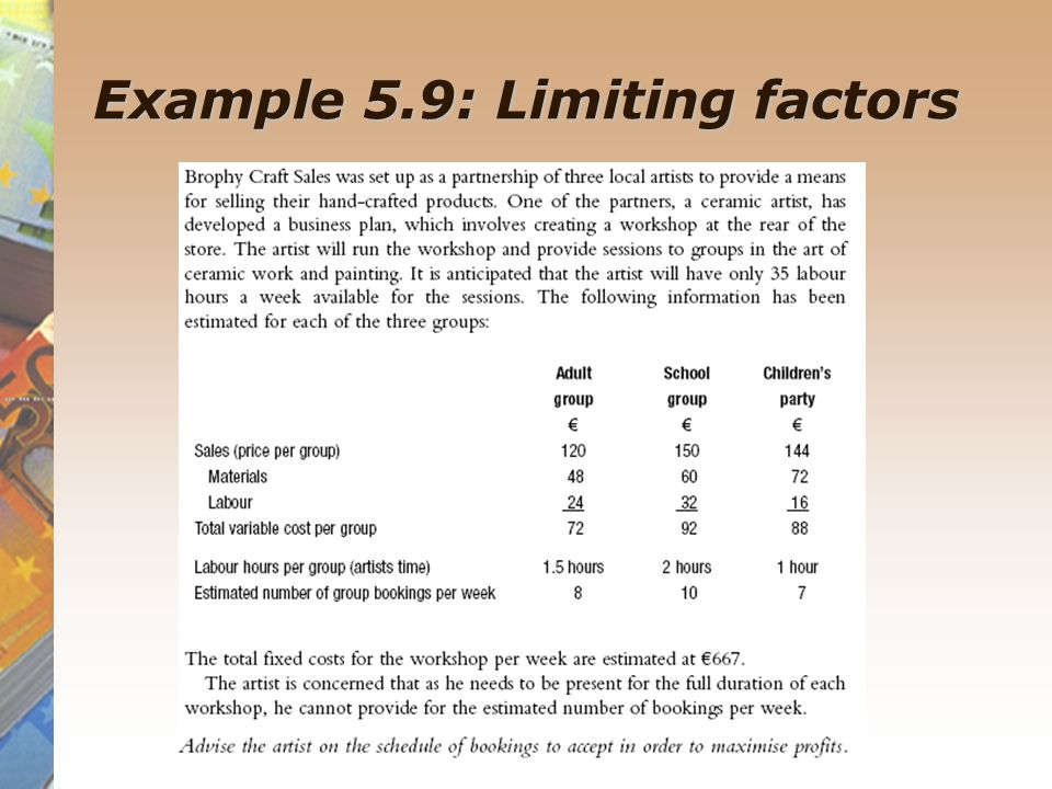 Example 5.9: Limiting factors