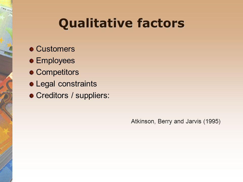 Qualitative factors Customers Employees Competitors Legal constraints