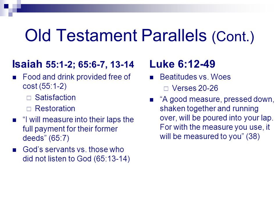 Old Testament Parallels (Cont.)
