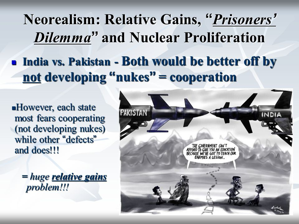 Neorealism: Relative Gains, Prisoners' Dilemma and Nuclear Proliferation