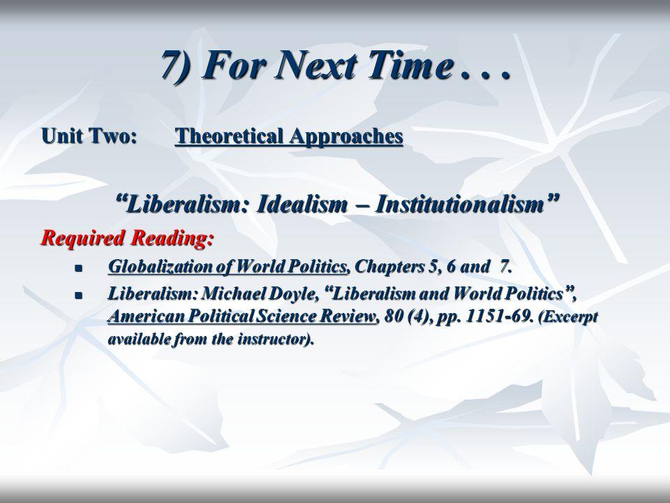 Liberalism: Idealism – Institutionalism