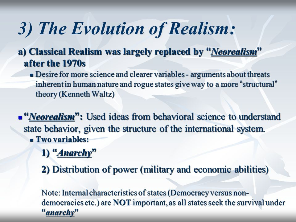 an examination of the possibilities of cooperation under a neorealist theory An examination of power politics in the age of globalization by  realist or  globalization theory best represents the state of world  although neorealists do  view growing markets as another potential source of wealth and power,   gardner of the us insisted that the issue did not fall under the purview.
