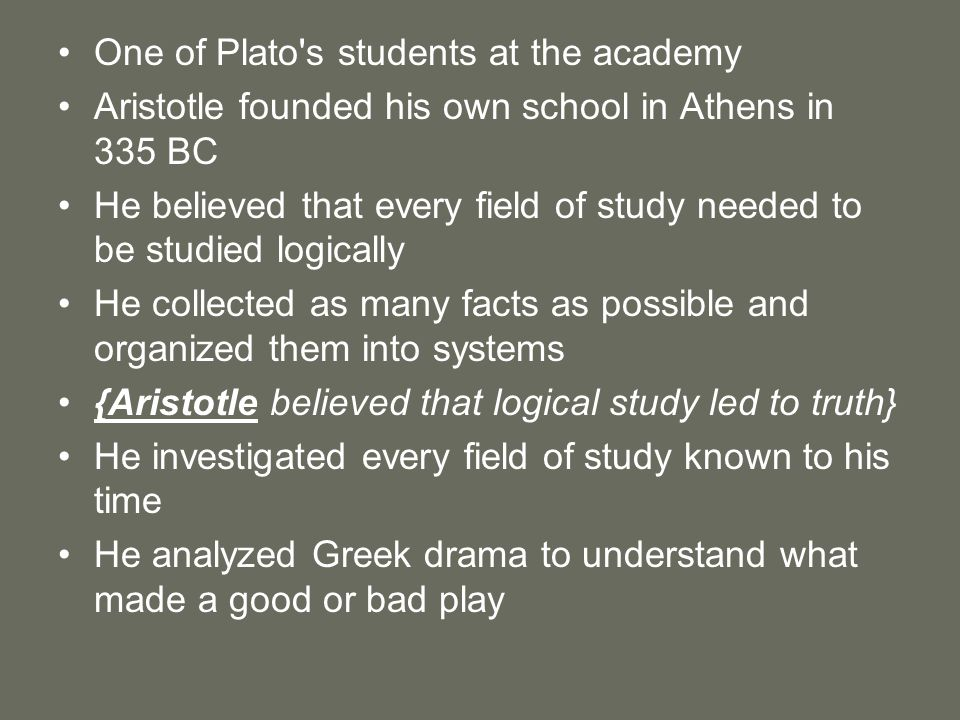 One of Plato s students at the academy