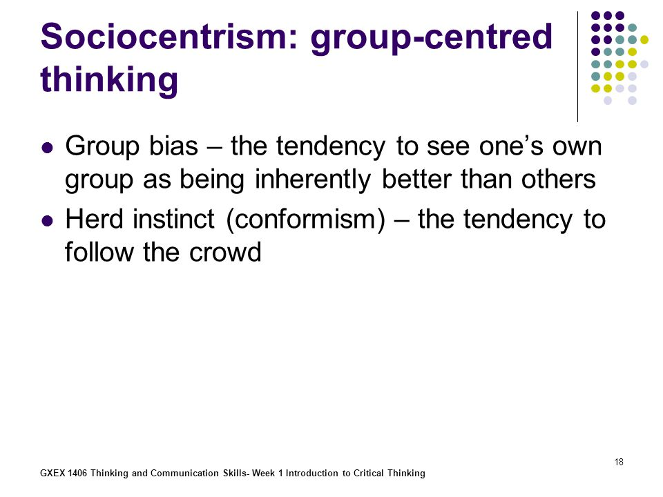 Sociocentrism: group-centred thinking