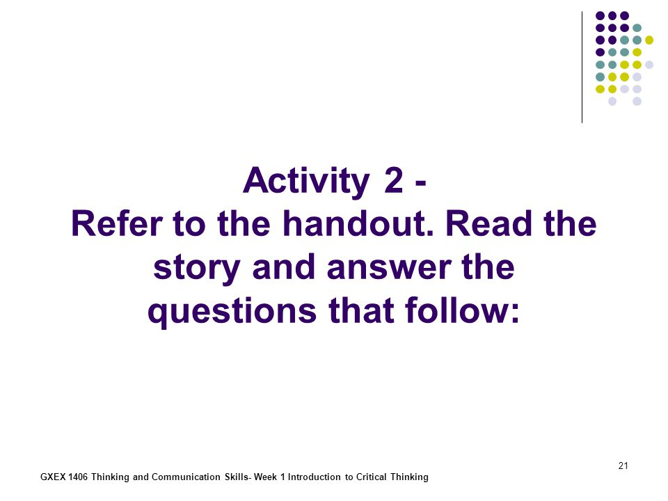 Activity 2 - Refer to the handout