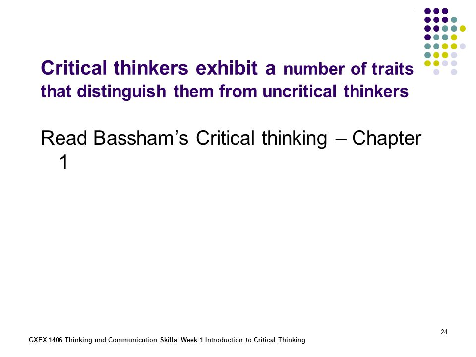 Read Bassham's Critical thinking – Chapter 1
