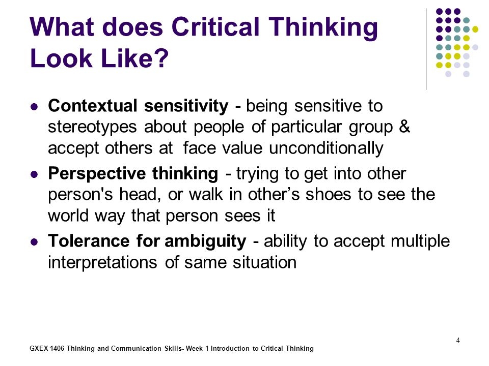 What does Critical Thinking Look Like