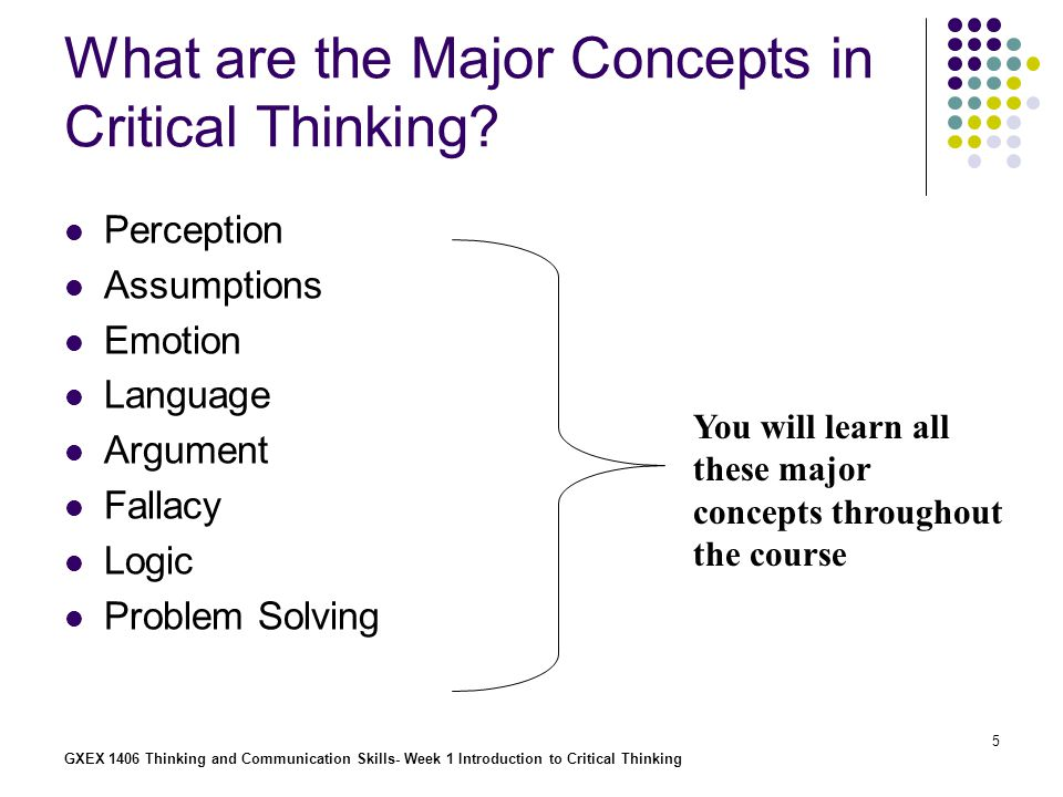 an analysis of the description of critical thinking Developing thinking skills: critical thinking subsumed under the umbrella of critical thinking the definition we currently use in our analysis.