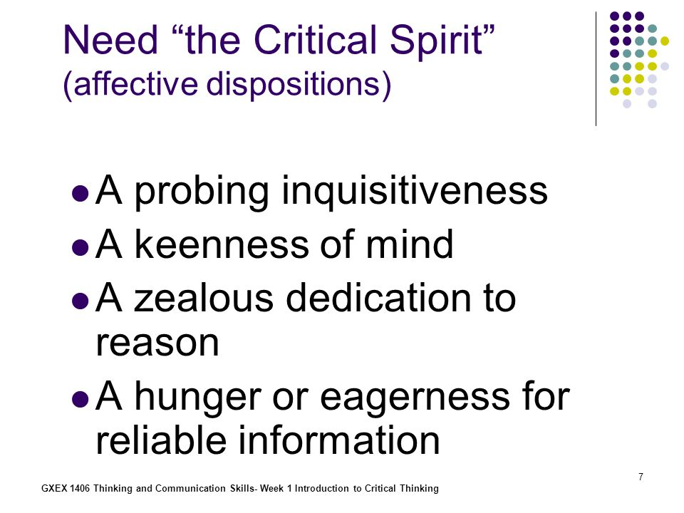 Need the Critical Spirit (affective dispositions)