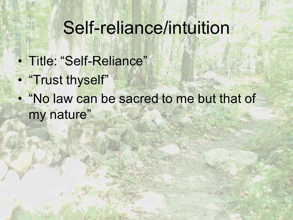 Self-reliance/intuition