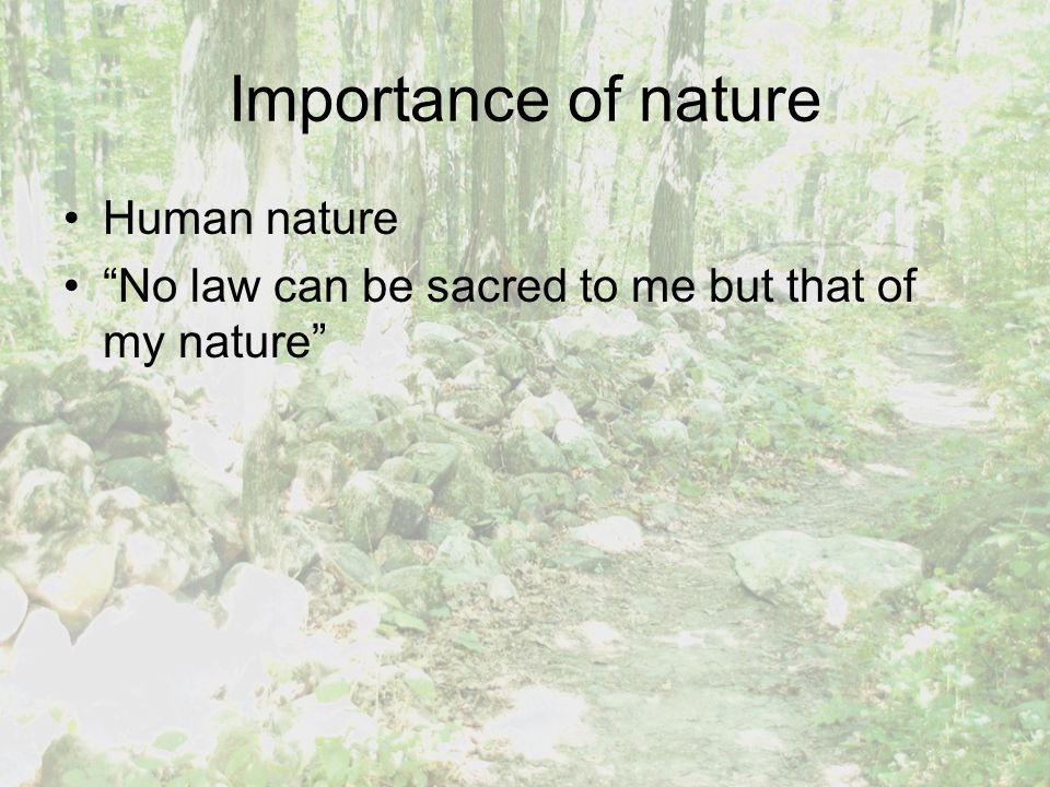 Importance of nature Human nature