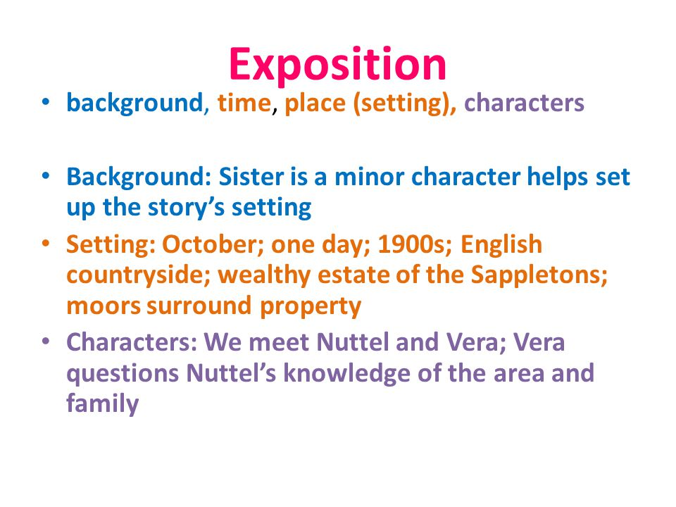 Exposition background, time, place (setting), characters