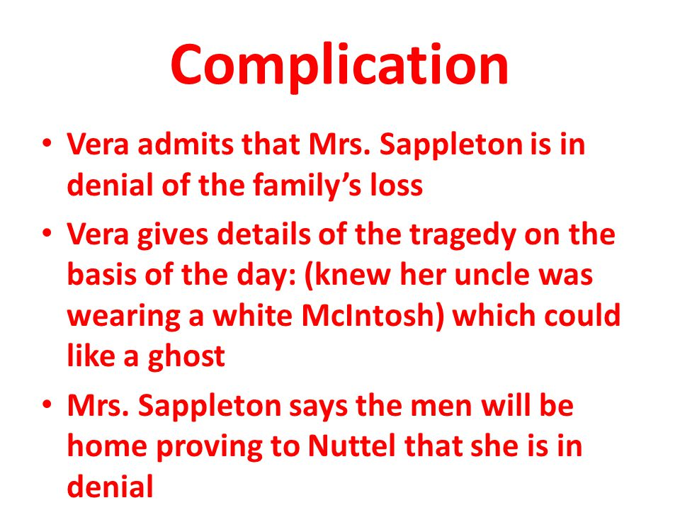 Complication Vera admits that Mrs. Sappleton is in denial of the family's loss.