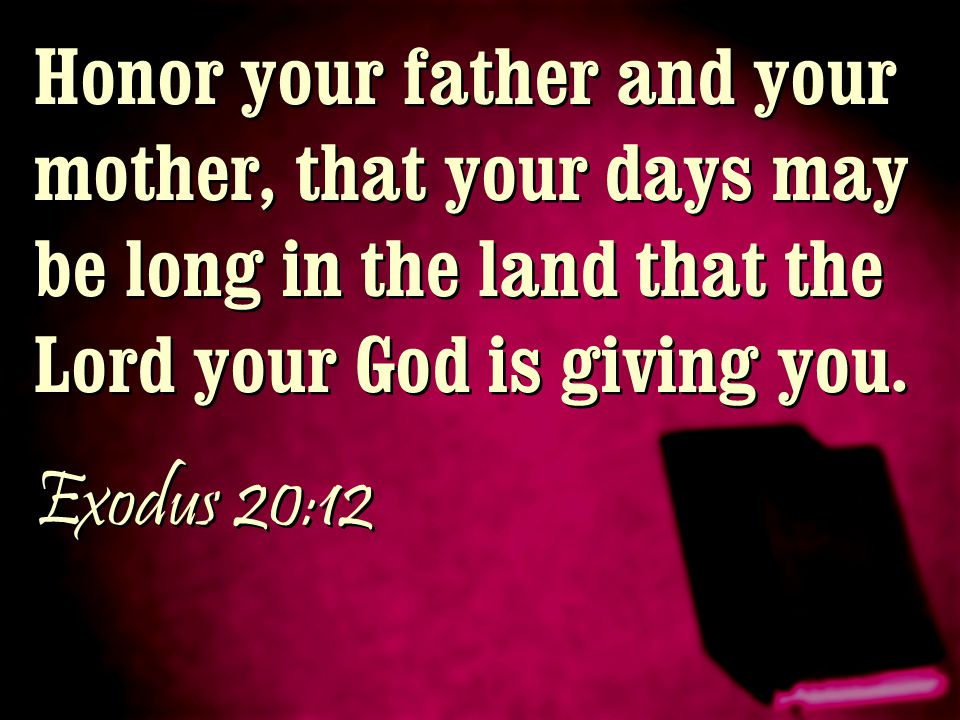 Honor your father and your mother, that your days may be long in the land that the Lord your God is giving you.