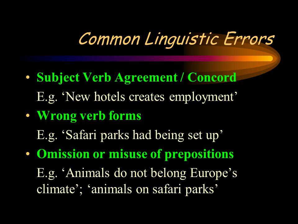 Common Linguistic Errors