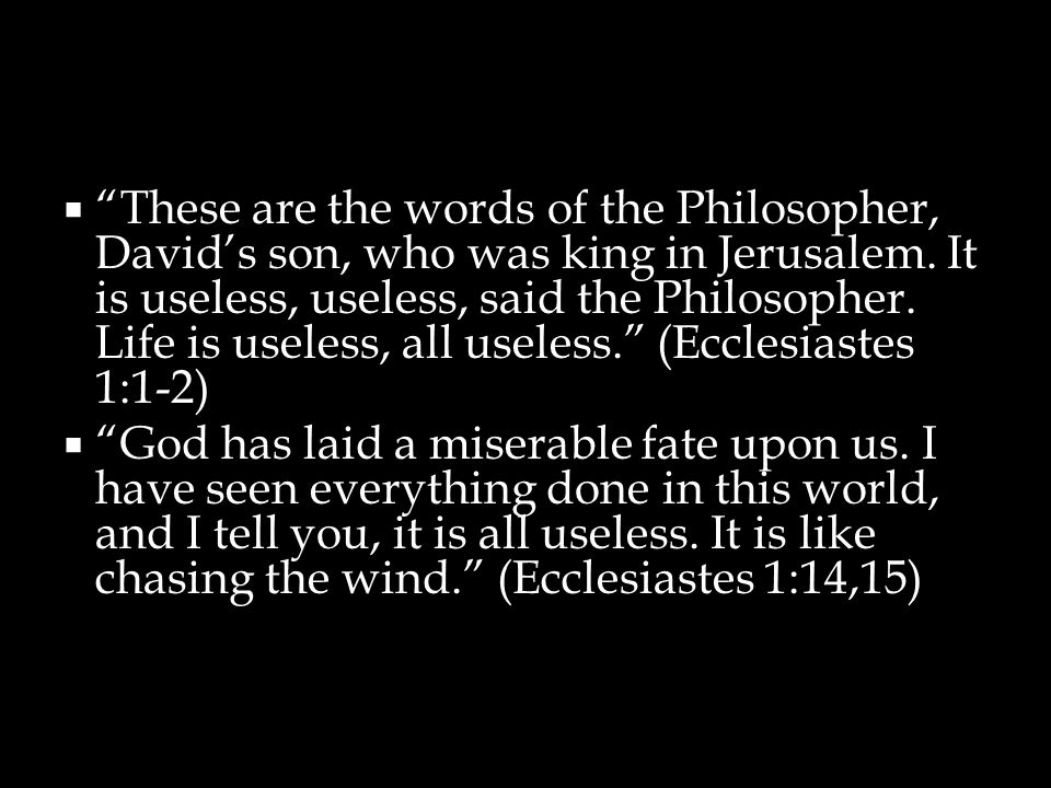 These are the words of the Philosopher, David's son, who was king in Jerusalem. It is useless, useless, said the Philosopher. Life is useless, all useless. (Ecclesiastes 1:1-2)