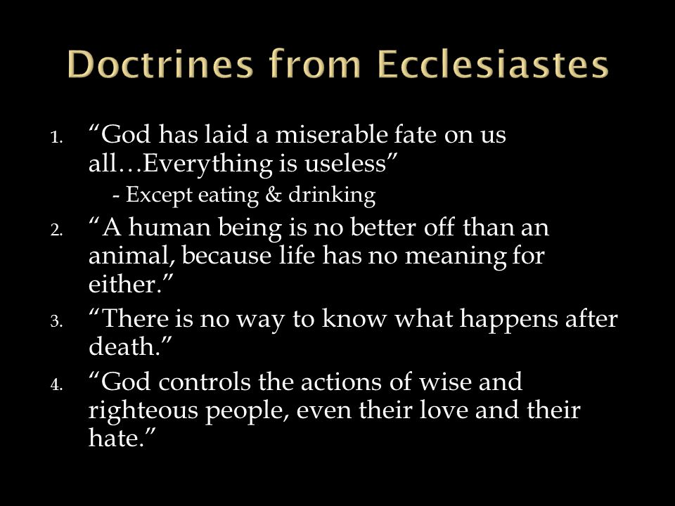 Doctrines from Ecclesiastes