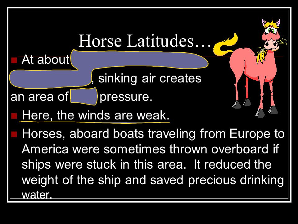 Horse Latitudes… At about 30 North and 30 South