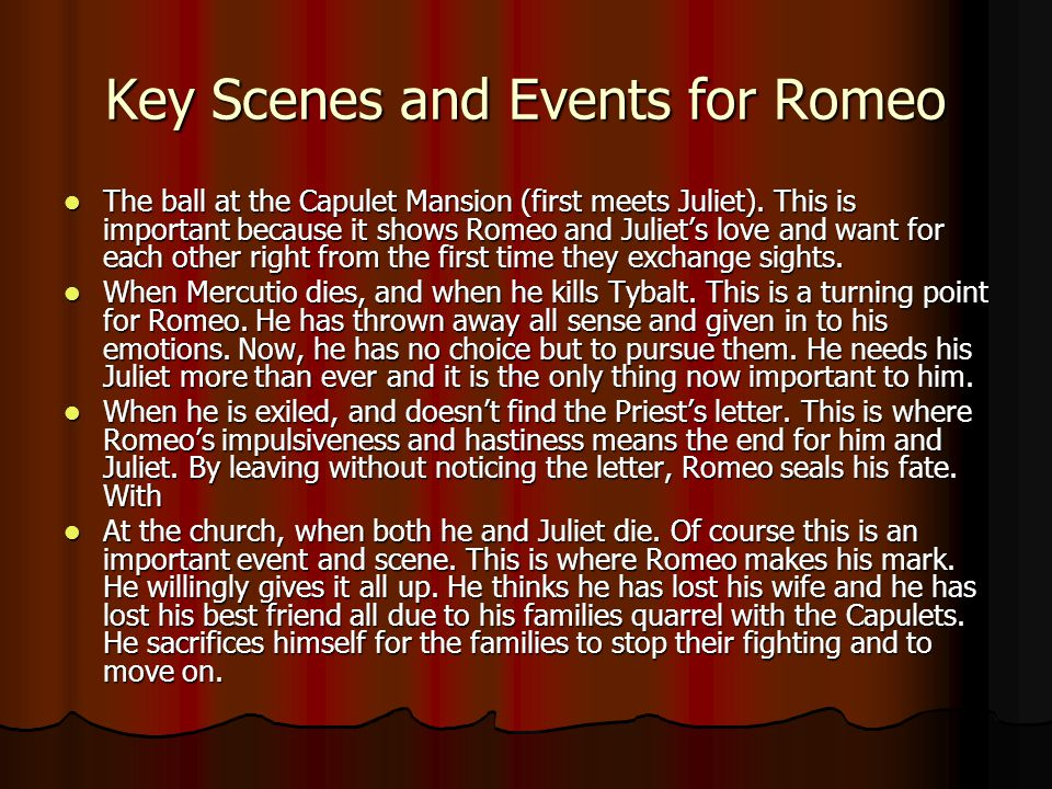 Key Scenes and Events for Romeo
